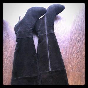 Aria Black Suede over the knee 3 inch heel boots
